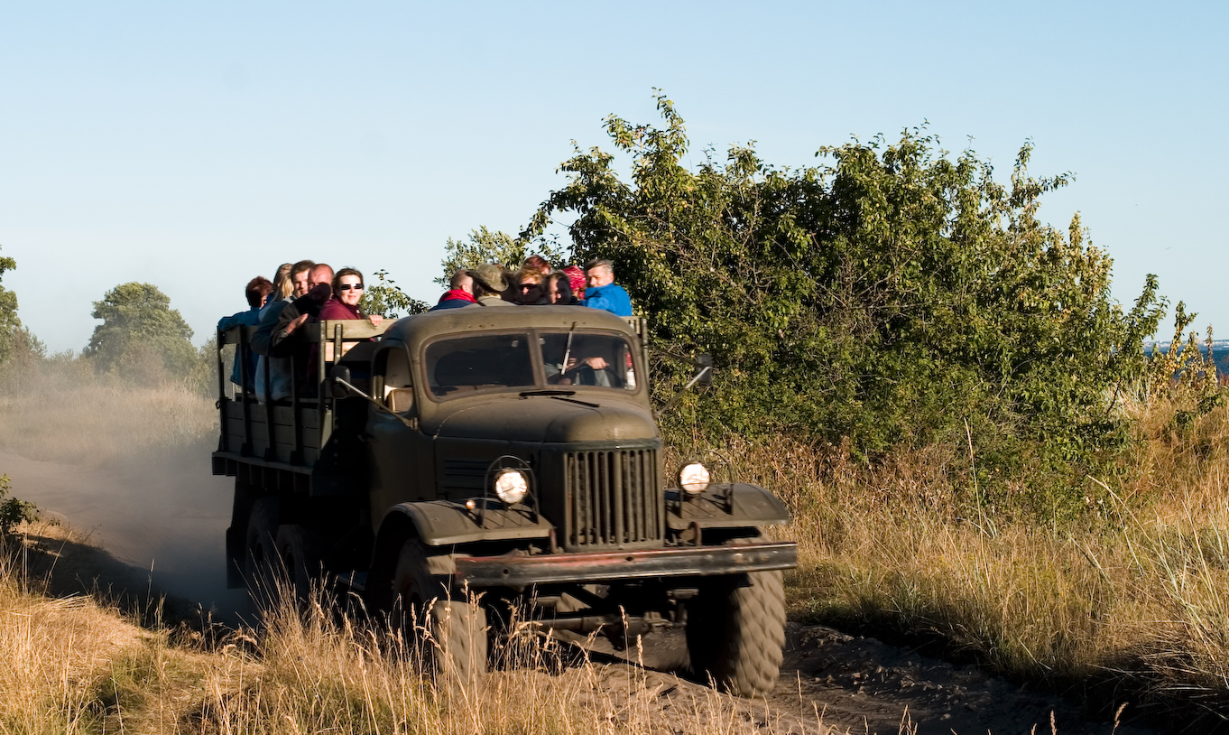 military vehicle safari on Naissaar island